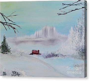 The Old Red Barn In Winter Canvas Print by Alys Caviness-Gober