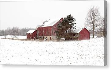 Canvas Print featuring the photograph The Old Red Barn by Nick Mares