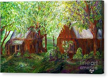 Canvas Print featuring the painting The Old Swing Between The House And The Barn by Eloise Schneider