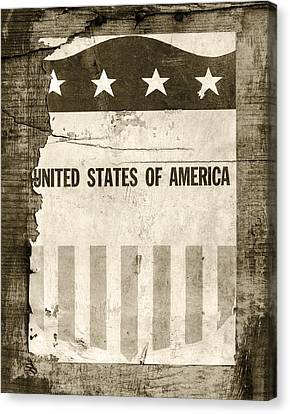 War Torn Flag Canvas Print - The Old Tag Bw by Martin Bergsma