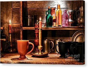 Glass Bottle Canvas Print - The Old Tavern by Olivier Le Queinec