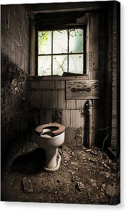 The Old Thinking Room - Abandoned Restroom And Toilet Canvas Print