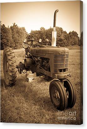 Sepia Tone Canvas Print - The Old Tractor by Edward Fielding