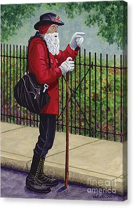 Canvas Print featuring the painting The Old Traveler by Val Miller