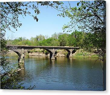 Gypsy Canvas Print - The Old Trolley Bridge Over The Spring River by The GYPSY