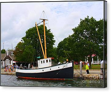 The Old Tugboat At Mystic Canvas Print by Dora Sofia Caputo Photographic Art and Design