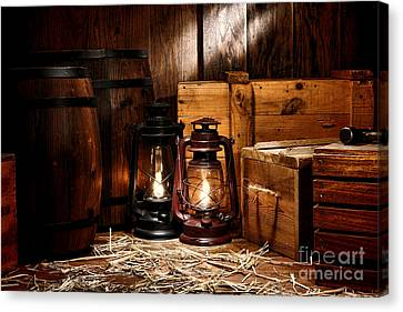 Oil Lamp Canvas Print - The Old Warehouse by Olivier Le Queinec