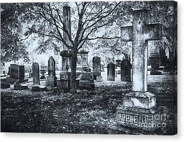 Headstones Canvas Print - The Old Weathered Cross - Greensboro North Carolina II by Dan Carmichael