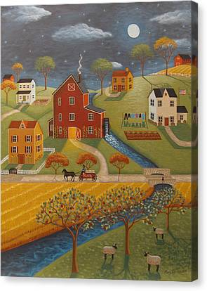 Amish Canvas Print - The Olde Red Mill by Mary Charles