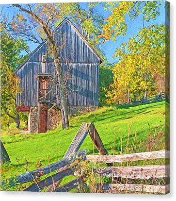 The Oliver Miller Homestead Barn / Side View Canvas Print by Digital Photographic Arts