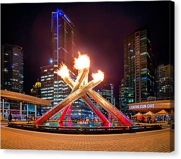The Olympic Cauldron In Vancouver Canvas Print