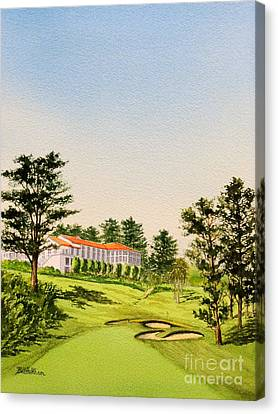 Canvas Print featuring the painting The Olympic Golf Club - 18th Hole by Bill Holkham
