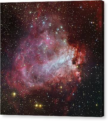 The Omega Nebula In The Constellation Canvas Print by Roberto Colombari