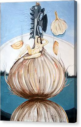 Canvas Print featuring the painting The Onion Maiden And Her Hair La Doncella Cebolla Y Su Cabello by Lazaro Hurtado