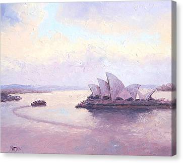 The Opera House And The Early Morning Ferry Canvas Print