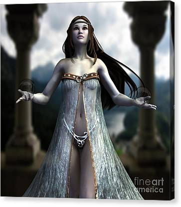 Canvas Print featuring the digital art The Oracle by Sandra Bauser Digital Art