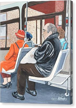 The Orange Coat On The 107 Bus Canvas Print by Reb Frost