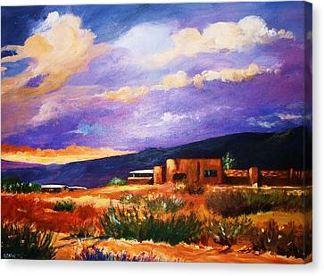 Canvas Print featuring the painting The Orange Glow Of Sunset by Al Brown