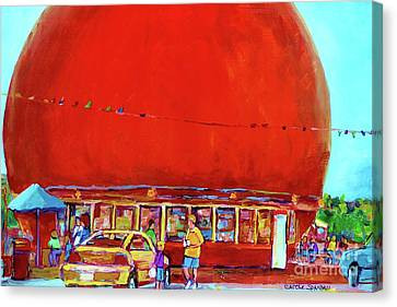 The Orange Julep Montreal Summer City Scene Canvas Print by Carole Spandau