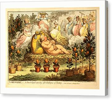 The Orangerie  Or  The Dutch Cupid Reposing Canvas Print by English School