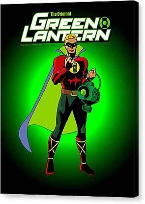 The Original Green Lantern Canvas Print by Mista Perez Cartoon Art