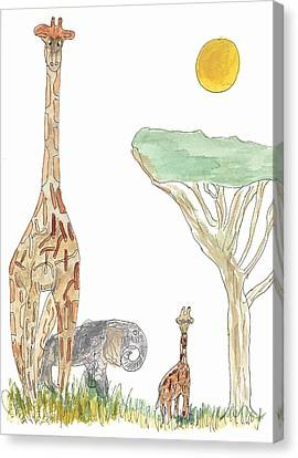 Canvas Print featuring the painting The Elephant Orphan by Helen Holden-Gladsky