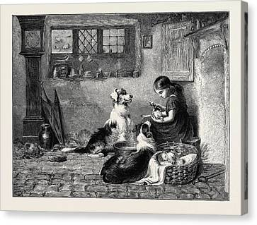 The Orphans, A Drawing In The Dudley Gallery Canvas Print by Riviere, Briton (1840-1920), English