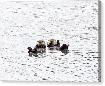 The Otters Say Hello Canvas Print by Saya Studios