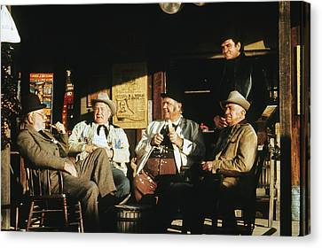 Canvas Print featuring the photograph The Over The Hill Gang  Johnny Cash Porch Old Tucson Arizona 1971 by David Lee Guss