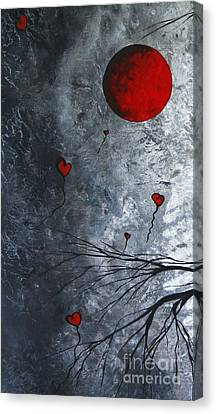 The Overseers 1 Of 2 Whimsical Crow Moon Heart Painting By Megan Duncanson Canvas Print by Megan Duncanson