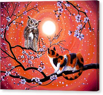 The Owl And The Pussycat In Peach Blossoms Canvas Print by Laura Iverson