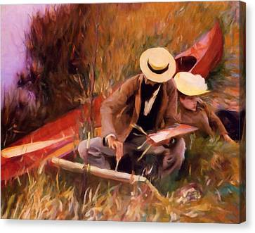 The Painter And His Love - Dedication Canvas Print by Georgiana Romanovna