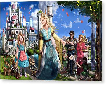 Canvas Print featuring the painting The Palace Garden  by Reynold Jay