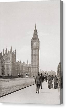 City Of Bridges Canvas Print - The Palace Of Westminster, Aka The Houses Of Parliament Or Westminster Palace, London, England by English School