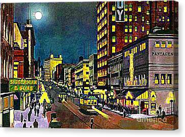 The Pantages Theatre In Seattle Wa Around 1910 Canvas Print by Dwight Goss