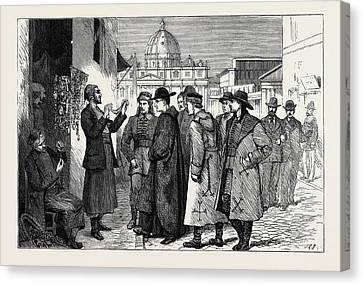 The Papal Jubilee At Rome, Pilgrims Buying Rosaries Canvas Print by English School