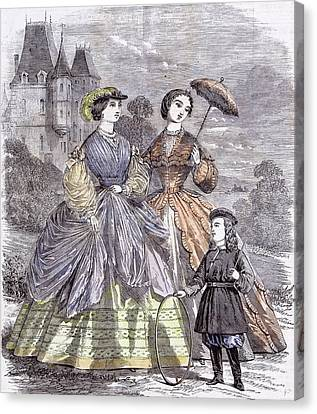The Paris Fashions For June Child 1860  Parasol Full Canvas Print by English School