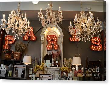 The Paris Market - Savannah Georgia Paris Market - Paris Macaron Shop - Parisian Chandelier Art Shop Canvas Print by Kathy Fornal