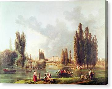C18th Canvas Print - The Park And Chateau At Mereville Oil On Canvas by Hubert Robert