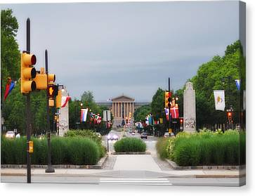 The Parkway And Art Museum Canvas Print by Bill Cannon