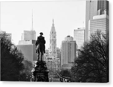The Parkway End To End In Black And White Canvas Print