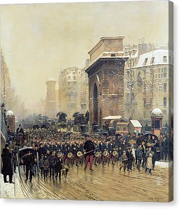 The Passing Regiment, 1875 Oil On Canvas Canvas Print