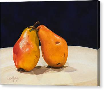 Canvas Print featuring the painting The Pearfect Pair by Dee Dee  Whittle