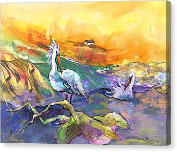 The Pelican Affair Canvas Print by Miki De Goodaboom