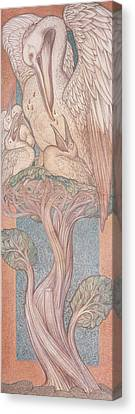 The Pelican, Cartoon For Stained Glass For The William Morris Company, 1880 Coloured Chalk On Paper Canvas Print