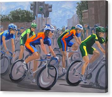 Canvas Print featuring the painting The Peloton by Karen Ilari