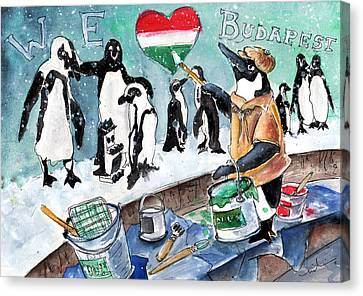The Penguins From Budapest Canvas Print by Miki De Goodaboom