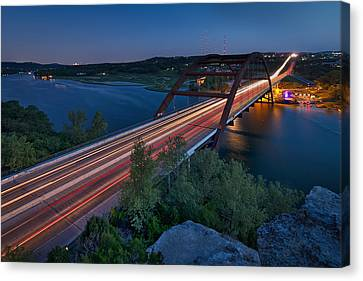The Pennybacker Bridge At Twilight Canvas Print by Tim Stanley