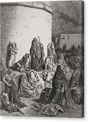 The People Mourning Over The Ruins Of Jerusalem Canvas Print by Gustave Dore