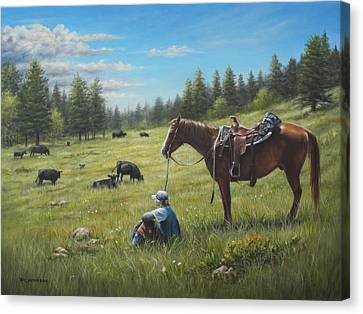 Canvas Print featuring the painting The Perfect Day by Kim Lockman